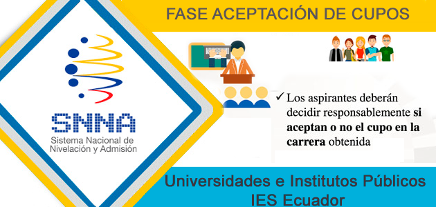 Fase Aceptación de Cupos SNNA 2017 - Universidades e Institutos Ecuador