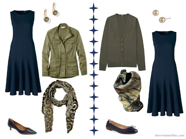 2 ways to wear a navy dress with olive green accessories