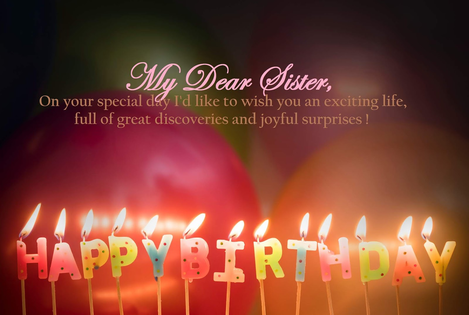 Birthday Wishes For Sister.Happy Birthday Wishes For Sister My Emotions