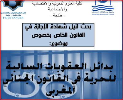 بدائل العقوبات السالبة للحرية في القانون الجنائي المغربي PDF