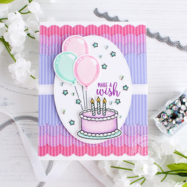 Sunny Studio Stamps: Make A Wish Stiched Oval Die Stitched Scallop Dies Happy Birthday Card by Leanne West
