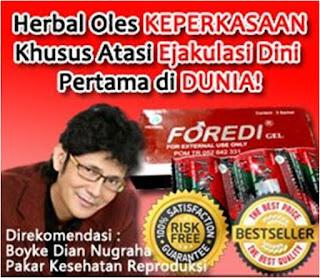 Foredi Gel yang direkomendasikan oleh pakar Kesehatan Reproduksi ternama di Indonesia yaitu dr. Boyke Dian Nugraha.