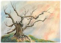 watercolor landscape, tree art, landscape painting