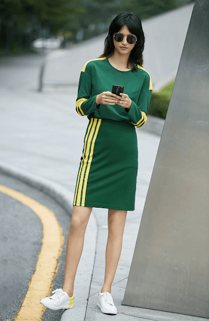 Amii Women Minimalist Skirt 2018 Contrast Color Stripe Knee Length Female Skirts