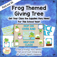 This Frog Themed Giving Tree is perfect to get your supplies for Back-to-School Nite or Open House!