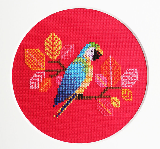 Blue Parrot Modern Counted Cross Stitch pattern by Diana Watters Handmade, a Feeling Stitchy feature by floresita