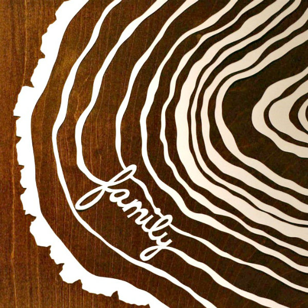 paper cut family tree on table