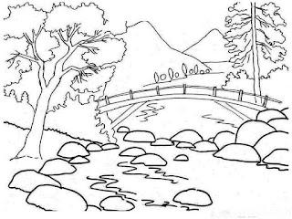 Sketsa Mewarnai Gambar Pemandangan Alam Pegunungan 20161