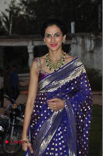 Model Shilpa Reddy Stills in Purple Silk Saree at Gudi Sambaralu 2017 Sri Ramachandra Swami Temple  0039.JPG