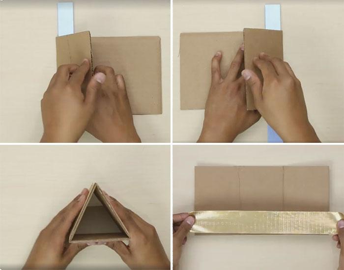 Kartondan Masa Üstü Üçgen Raf yapımı