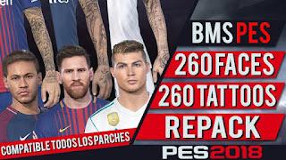باتش اضافة 260 وجه جديد لـ PES 2018 + مود الوشوم متوافق مع جميع الباتشات