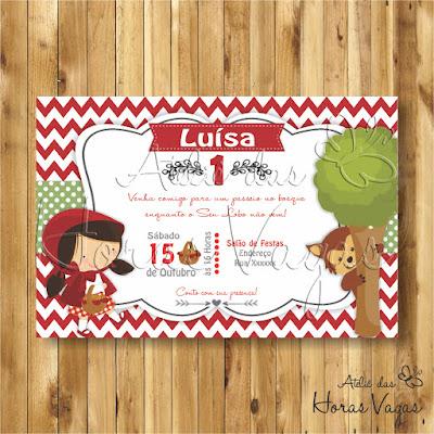 convite digital aniversário infantil personalizado artesanal festa chá de bebê fraldas 1 aninho menina Chapeuzinho Vermelho e o Lobo Mau Mal na floresta encantada princesas piquenique vermelho e verde