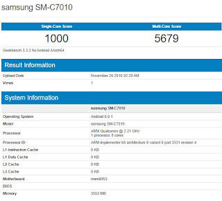 Samsung Galaxy C7 Pro (SM-C7010) spotted on Geekbench