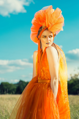 mystic magic, richard wakefield photography, photography, fantasy, photo shoot, summer, autumn, fashion, editorial, orange, dress, orange dress, couture, avant garde, high fashion, dreamy, magical, designer, millinery designer, creative makeup,