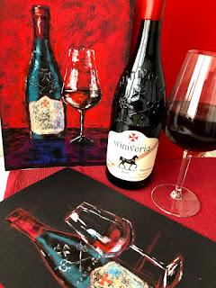 Красное вино. Картина сухой пастелью.
