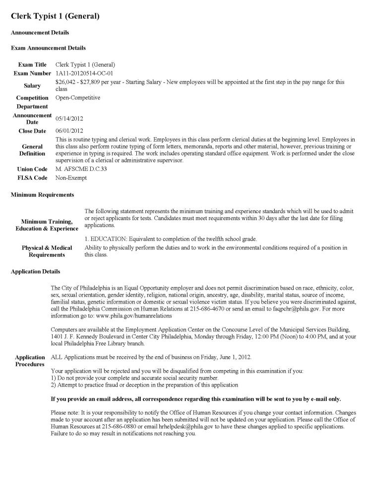Clerk Typist Resume Jobvertise Post And Search Jobs Resumes Free The City Of Philadelphias