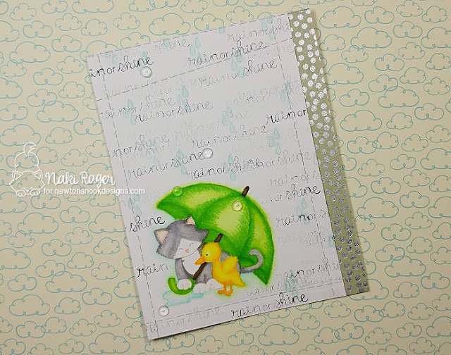 Cat and Umbrella Card by Naki Rager | Newton's Rainy Day stamp set and die set by Newton's Nook Designs #newtonsnook