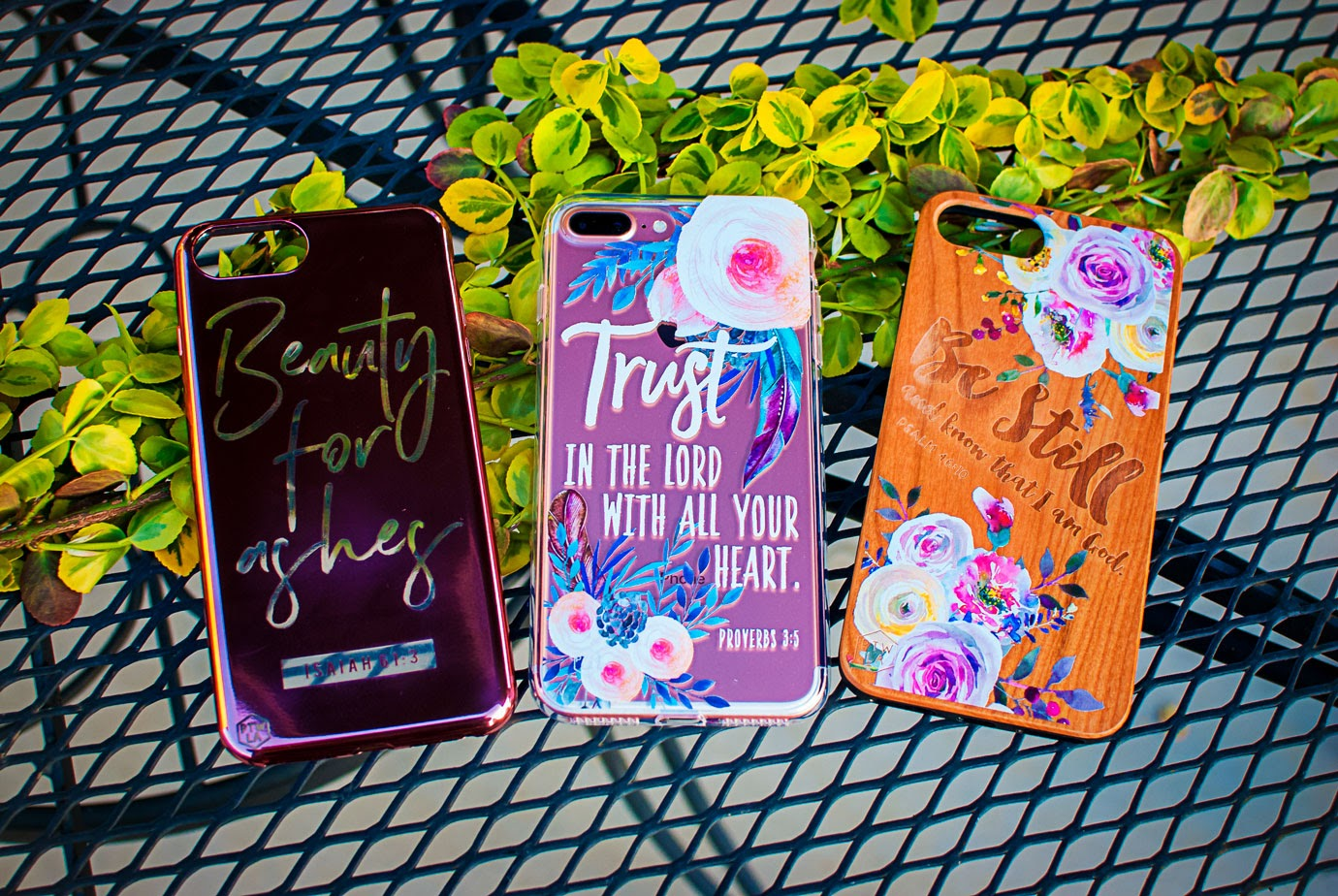 Trendy Floral Wood and Shimmer Phone Cases from Prone To Wander