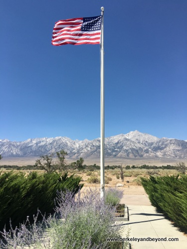 U.S. flag flies at Manzanar National Historic Site in Independence, California