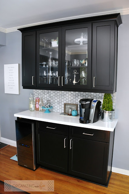 Coffee and Wine Bar done in black cabinets with chrome drawer pulls :: OrganizingMadeFun.com