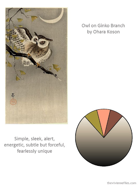 Color palette from Owl on Ginko Branch by Ohara Koson