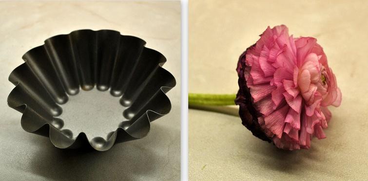 Form für Eisdeko mit Blüten