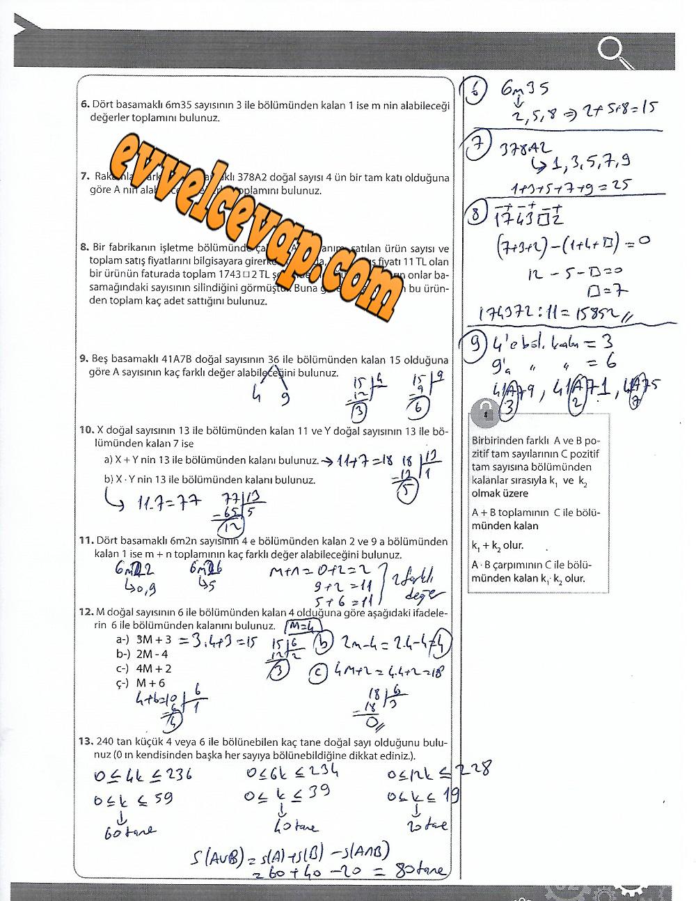 9.Sınıf Matematik MEB Yayınları Ders Kitabı 183.Sayfa Cevapları 4.Ünite