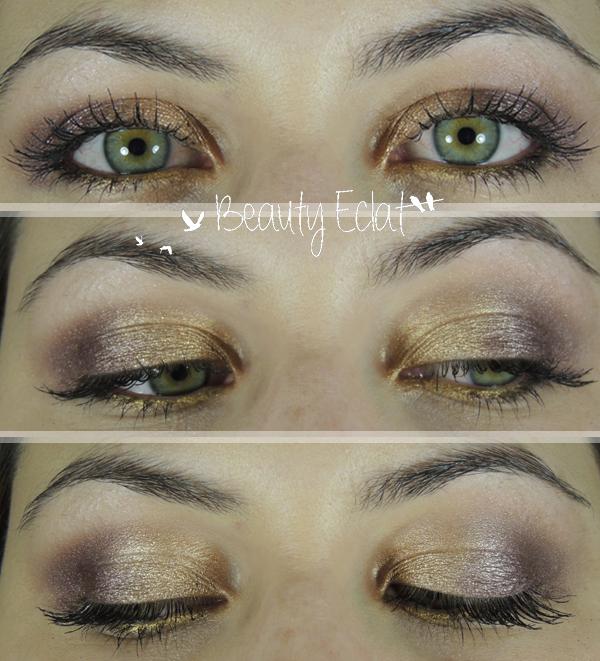 tutoriel maquillage prune doré yeux verts