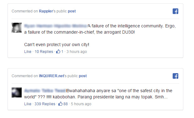 CRAB MENTALITY: Anti-Duterte Netizens Mocks President for Safest City Bombing.