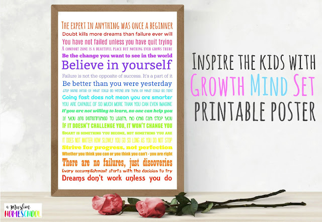 Growth mind set poster for kids