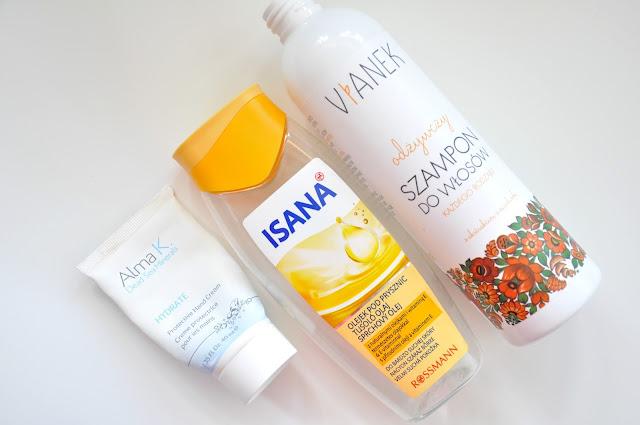 krem do rąk alma k. dead sea minerals hydrate, olejek isana i odżywczy szampon do włosów vianek