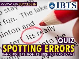Spotting Errors for SBI PO/Clerk Mains 2018: 10 July