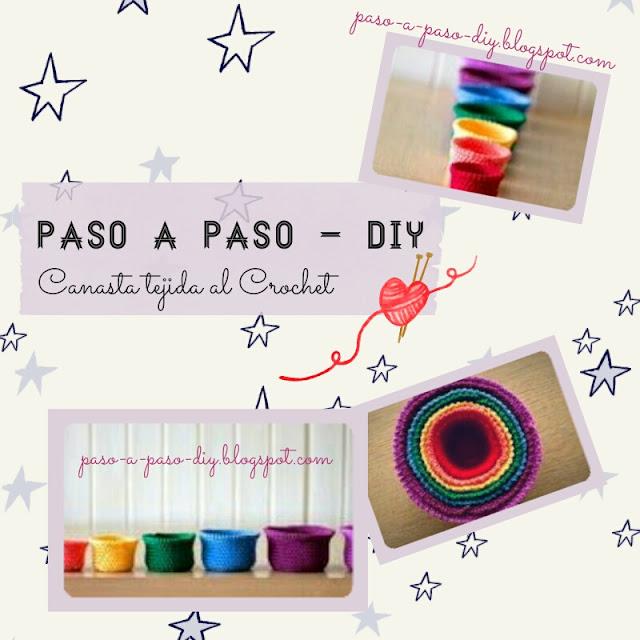 cómo tejer una canasta de colores