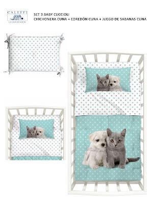 Baby Cuccioli de Caleffi. Set 3 Cuna (Chichonera + edredón + juego cama))