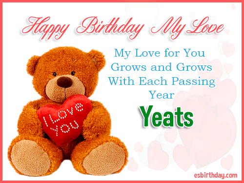 Yeats Happy Birthday My Love