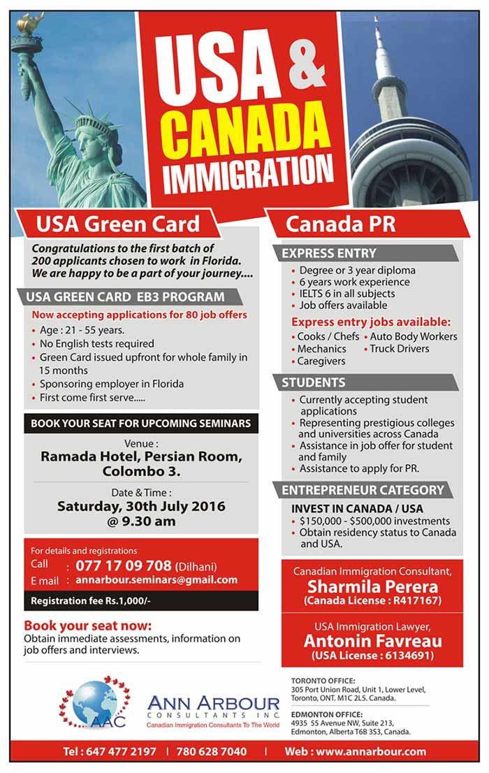 Book your seat for the upcoming immigration seminar in Ramada Hotel, Persian Room, Colombo, Sri Lanka on Saturday, July 30th at 9:30AM. Express entry level jobs for cooks, mechanics, caregivers, truck drivers and auto body workers.
