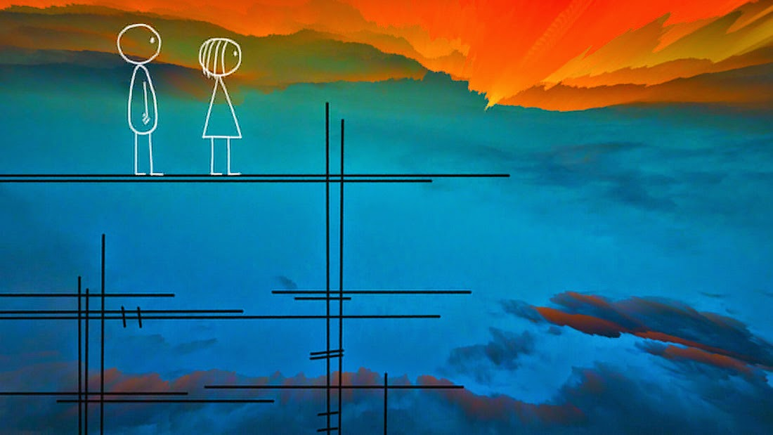 drawing of boy and girl standing high on scaffold with sunset behind them