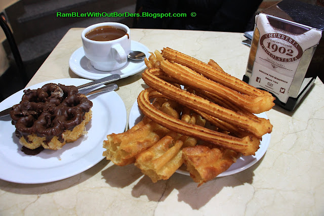 Churros and chocolate, Los Artesanos 1902, Chocolateria and churreria, Madrid, Spain