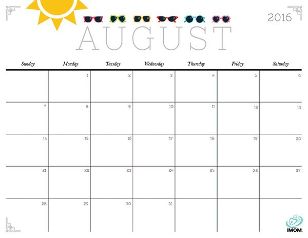 august 2016 printable calendar, august calendar printable 2016, august 2016 calendar printable