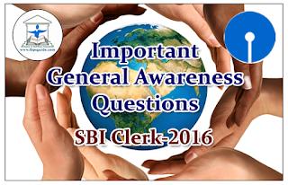SBI Clerk 2016 - Important General Awareness Questions
