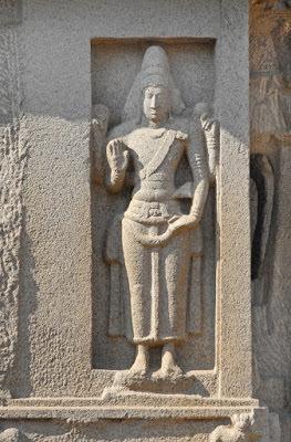 Mahabalipuram Monolithic Stone Chariots -  Bhairava idol