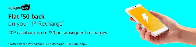 Amazon Flat 50 Cashback on First Recharge Offer(Amazon First Recharge Offer)