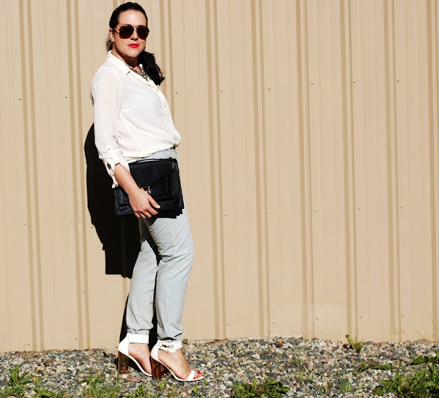 Gap chinos,Forever 21 blouse,J.Crew rhinestone bib necklace,Loeffler Randall Rider bag,Topshop heels and a Michael Kors watch