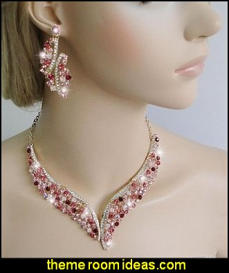 Wing Flower Necklace Earrings Set Gold-Tone Pink Austrian Crystal