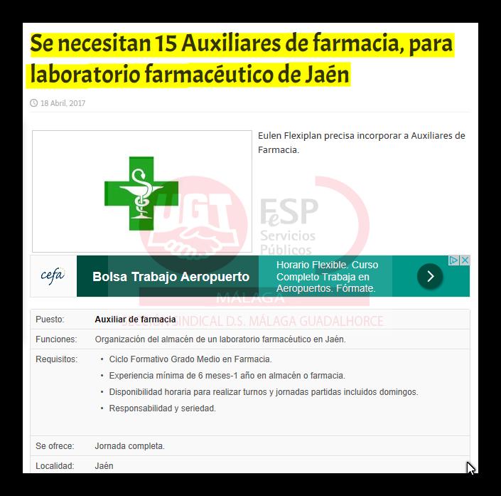 Se Necesitan 15 Aux Farmacia En Jaén