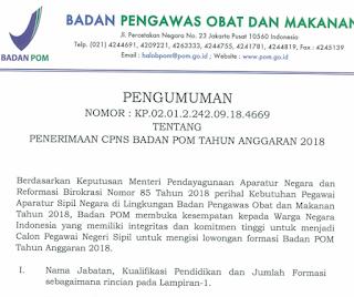 Rekrutmen CPNS BPOM 2018