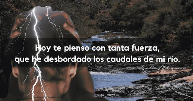 Hoy te pienso con tanta fuerza,que he desbordado los caudales de mi rio. Katia Márquez