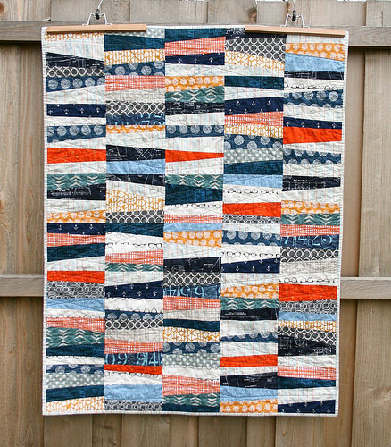 Wonky Stripes Baby Quilt Tutorial from Quilts By Emily