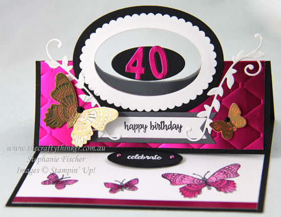 #thecraftythinker #stampinup #cardmaking #easelcard #funfold #floatingframe #butterflygala , Easel Card, Butterfly Gala, Tufted, Floating Frame card, Stampin' Up Australia Demonstrator, Stephanie Fischer, Sydney NSW