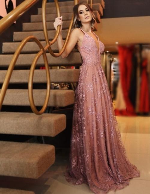 vestido de festa longo rosa rendado